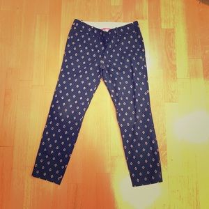 J. CREW PANTS NAVY WITH PRINT ANKLE LENGTH